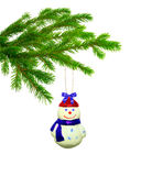 Christmas toy  snowball. On tree isolated Stock Photography