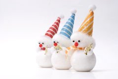 Christmas toy snowman. Snowman christmas toy isolated white background Royalty Free Stock Photography