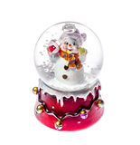 Christmas toy snowman in glass ball isolated Royalty Free Stock Images