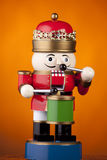 Christmas Toy Soldier Drummer on Gold Stock Photography