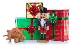 Christmas toy soldier and presents. Royalty Free Stock Photos