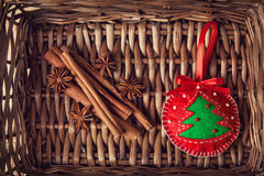 Christmas toy and spices Royalty Free Stock Images