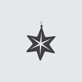 Christmas toy star icon in a flat design in black color. Vector illustration eps10. Christmas  toy star icon in a flat design in black color. Vector illustration Stock Photos