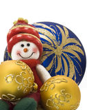 Christmas toy with three colorful New Year Balls Royalty Free Stock Photos