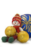 Christmas toy with three colorful New Year Balls Stock Images