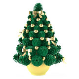 Christmas toy tree made of cones with gold toys Royalty Free Stock Image