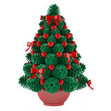 Christmas toy tree made of cones with red toys Royalty Free Stock Images