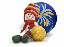 Christmas toy with two colorful New Year Balls Royalty Free Stock Photography