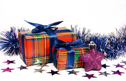 Christmas toy and two gift boxes Royalty Free Stock Photos