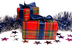 Christmas toy and two gift boxes Stock Photography