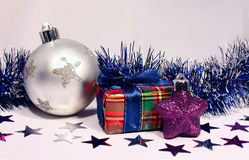 Christmas toy and two gift boxes Royalty Free Stock Photography