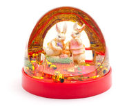 Christmas toy with two rabbits Royalty Free Stock Photos
