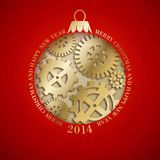 Christmas toy with wheels and gears. Vector illustration Stock Photography