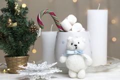 A Christmas toy white bear on the new year background. Toy white bear on the new year background royalty free stock image