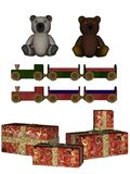 Christmas toys. 3D rendered Christmas toys on white background isolated Royalty Free Stock Photography