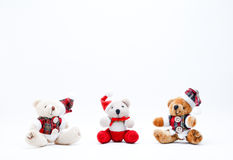 Christmas Toys. Three Christmas Cuddly Toys on a White Background stock photo