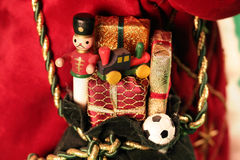 Christmas Toys. Small fake Christmas toys in a sack Royalty Free Stock Image