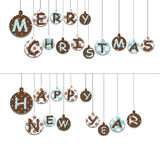 Christmas toys. Christmas balls with text and ornament Royalty Free Stock Images