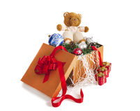 Christmas toys. A lot of Christmas toys in a box Stock Photography
