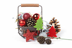 A christmas toys. A christmas toys in a wicker basket Stock Image