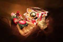 Christmas toys. Handmade gift box with christmas toys Stock Photos
