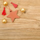 Christmas toys. Over wooden background Stock Images