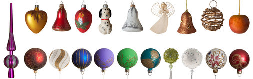 Christmas toys. Collection of New Year's - Christmas tree toys Royalty Free Stock Image