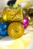 Christmas toys. Christmas decorative toys on beautiful light Royalty Free Stock Photo
