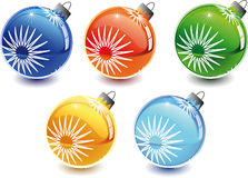 Christmas toys. 3d Color vector eve toys with color shadows Stock Photography