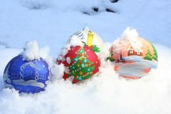 Christmas toys. New Year's toys in snow Stock Photo
