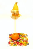 Christmas toys. With oranges and candies Royalty Free Stock Photo