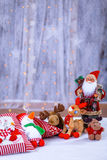 Christmas toys, animals and Santa. Christmas decorations with fluffy toy animals and Santa Royalty Free Stock Photos