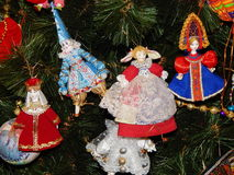 Christmas toys as a background. International exhibition of dolls in Moscow in December, 2015 Stock Photos