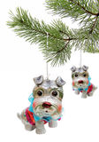 Christmas toys as a dog on pine branch Stock Image