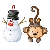 Christmas toys as figurine snowman and monkey. Christmas toys for festive mood and merry x-mas celebrations. Vector illustration in cartoon style on white Royalty Free Stock Photos