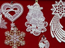 Christmas toys background. Brussels lace. Royalty Free Stock Photo