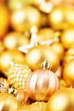 Christmas toys background. Gold collection Royalty Free Stock Photos