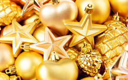 Christmas toys background. Gold collection Royalty Free Stock Photo
