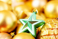 Christmas toys background. Gold collection Royalty Free Stock Image