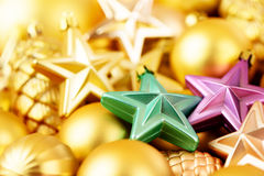 Christmas toys background. Gold collection Stock Image