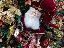 Christmas toys background. The shot was made at the International Specialized Trade Fairs GIFTS EXPO. AUTUMN 2014 stock image