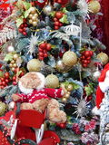 Christmas toys background. The shot was made at the International Specialized Trade Fairs GIFTS EXPO. AUTUMN 2014 stock images