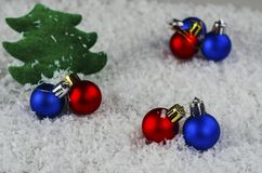 Christmas toys on the background of snow stock images