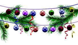 Christmas toys on the background of Christmas tree branches and confetti Stock Image