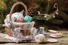 Christmas toys with ball of threads Royalty Free Stock Photos