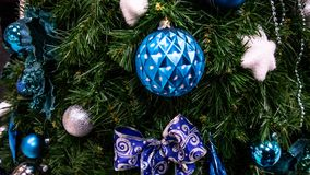Christmas toys, balls, Christmas tree. happy New Year royalty free stock image