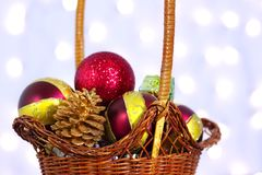 Christmas toys in a basket Stock Photography