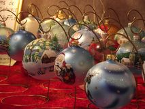 Christmas toys. Beautiful and bright Christmas balls in a shop window Royalty Free Stock Photos