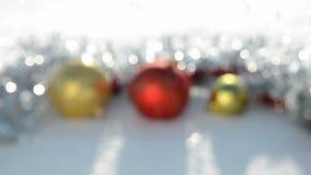 Christmas toys blur background on winter snow