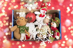 Christmas toys in a box Royalty Free Stock Image